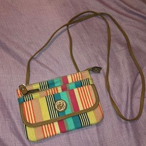 Multicolor stripe crossbody purse